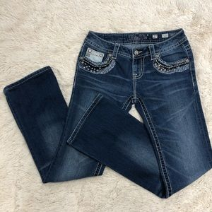 Miss Me Distressed Signature Boot Cut Jeans
